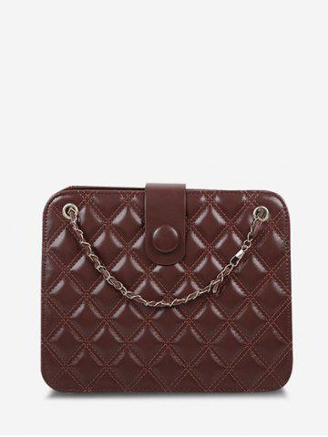 Quilted Chain-Trimmed Strap Square Shoulder Bag - BROWN