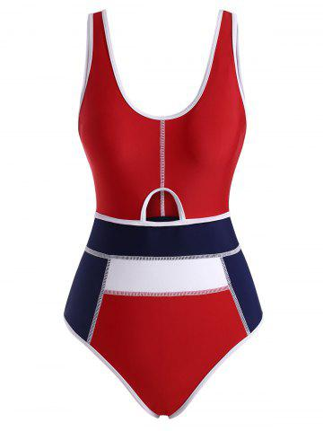 Piping Colorblock Cutout Tank One-piece Swimsuit - MULTI - XL