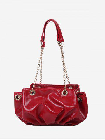 Pleated Chain Strap Shoulder Bag