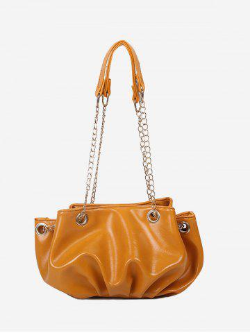 Pleated Chain Strap Shoulder Bag - BEE YELLOW
