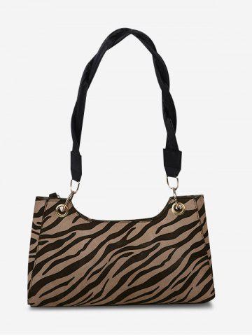 Zebra Striped Pattern Twist Strap Shoulder Bag - LIGHT BROWN
