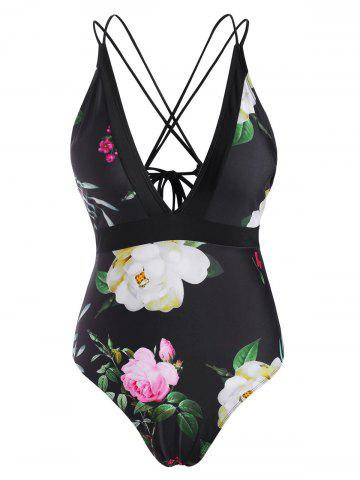 Floral Strappy Lace Up Criss Cross One-piece Swimsuit - BLACK - M