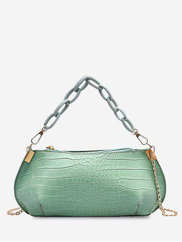 Solid Textured Chains Handbag - ALGAE GREEN