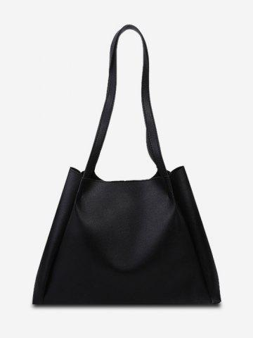 Solid Double Strap Shoulder Bag with Inner Pouch - BLACK