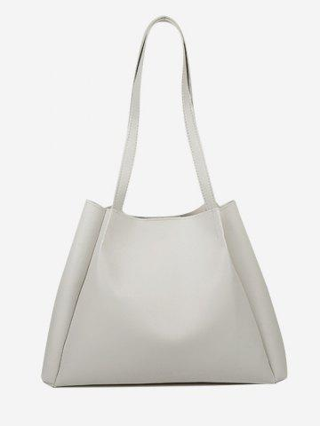 Solid Double Strap Shoulder Bag with Inner Pouch - CRYSTAL CREAM