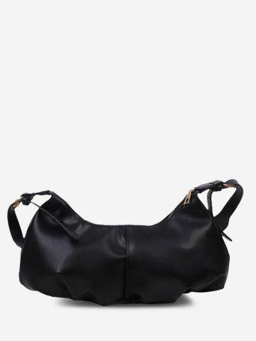Soft Draped Buckle Strap Shoulder Bag - BLACK