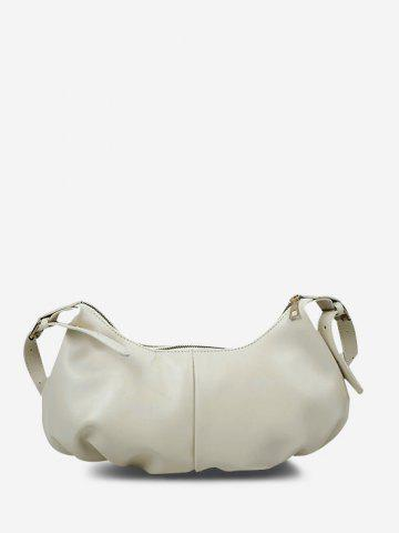 Soft Draped Buckle Strap Shoulder Bag - WHITE