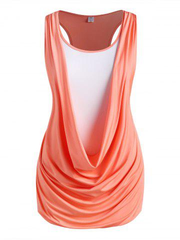 Plus Size Draped Ruched Twofer Racerback Tunic Tank Top - ORANGE - 1X