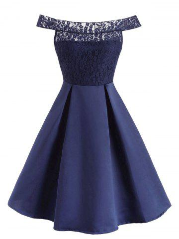 Off The Shoulder Lace Panel Pleated Detail Dress - DEEP BLUE - L