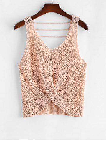 Plus Size V Neck Twist Front Strappy Sweater Vest - LIGHT PINK - 3XL