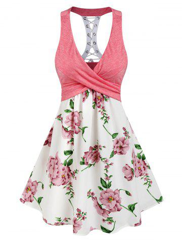Sleeveless Flower Print Lace-up Crossover Dress