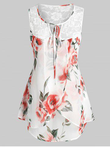 Plus Size Sleeveless Floral Print Lace Insert Blouse
