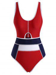 Piping Colorblock Cutout Tank One-piece Swimsuit -