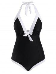 Colorblock Knotted Ruched One-piece Swimsuit -