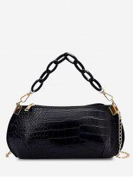 Solid Textured Chains Handbag -