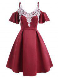 Guipure Lace Applique Cold Shoulder Butterfly Sleeve Dress -