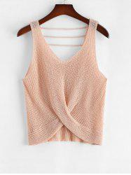 Plus Size V Neck Twist Front Strappy Sweater Vest -