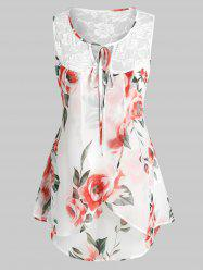 Plus Size Sleeveless Floral Print Lace Insert Blouse -