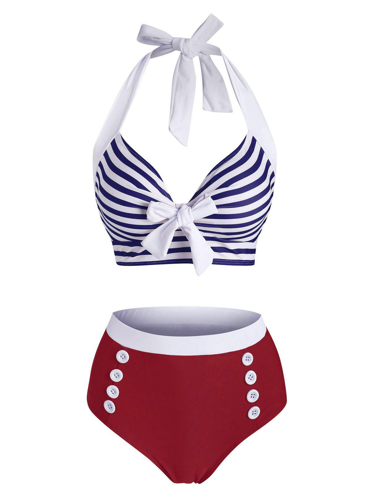 Outfit Striped Halter Button Embellished Tied Tankini Swimwear