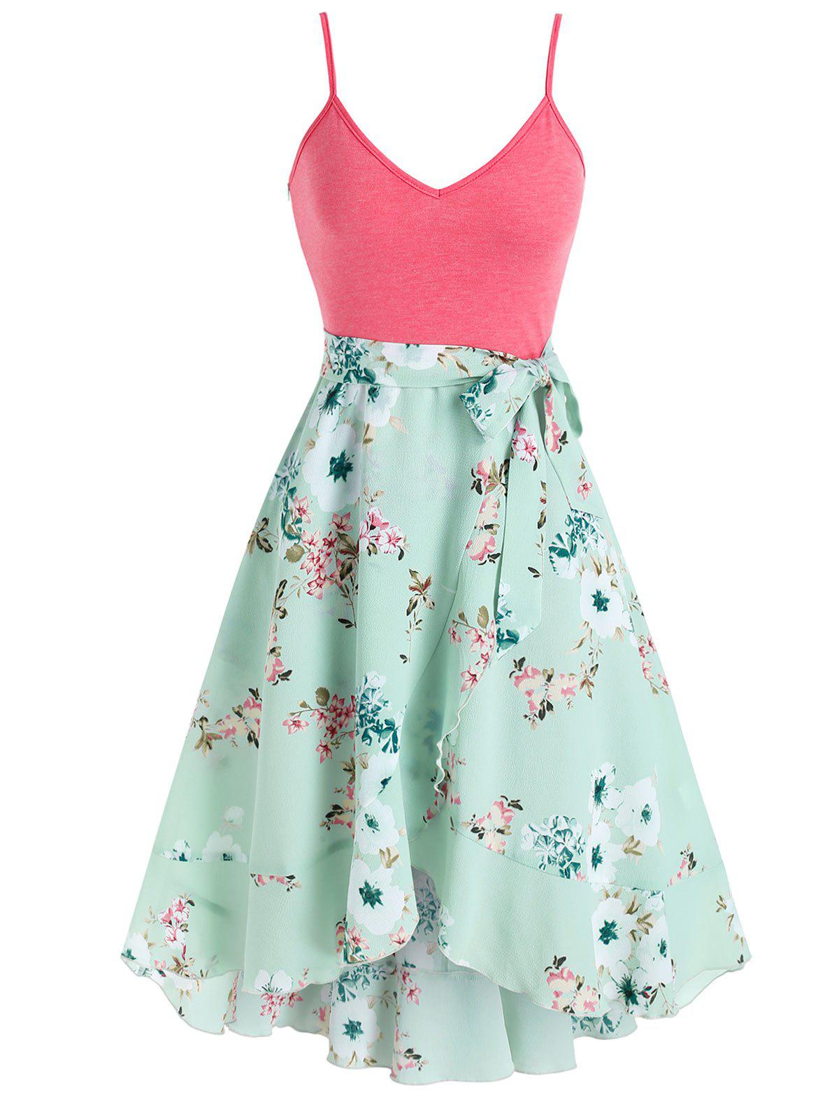 Outfit Side Tie Floral Print High Low Dress