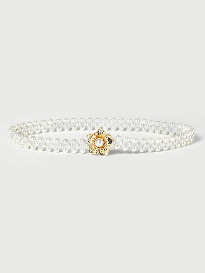 Unique Floral Buckle Stretch Faux Pearl Beaded Belt
