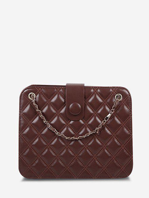 Chic Quilted Chain-Trimmed Strap Square Shoulder Bag