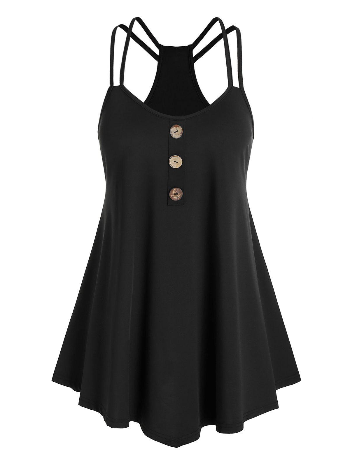 Affordable Plus Size Buttons Spaghetti Straps Tank Top