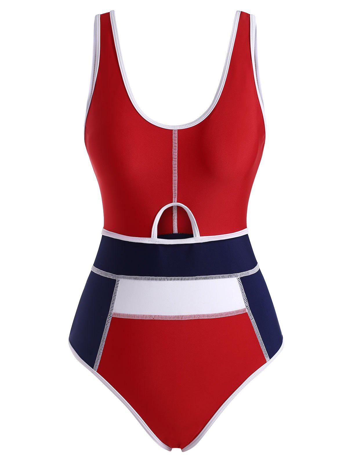 Discount Piping Colorblock Cutout Tank One-piece Swimsuit