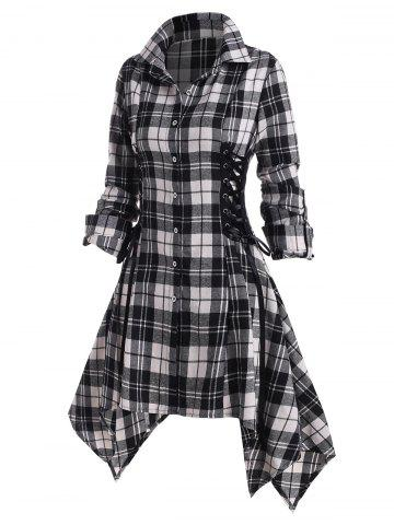 Lace Up Plaid Rolled Up Sleeve Handkerchief Shirt Dress