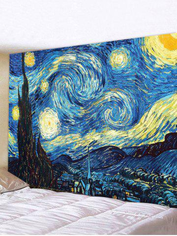Starry Night Print Wall Tapestry - MULTI - W118 X L79 INCH