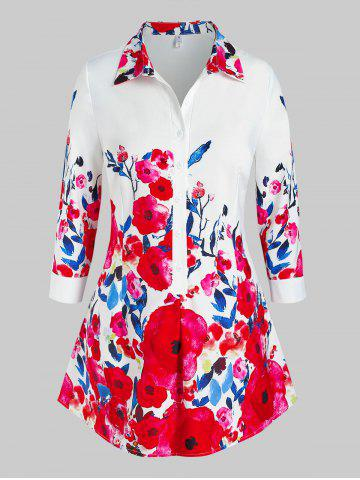 Plus Size Floral Print Half Button Blouse - RED - 5X