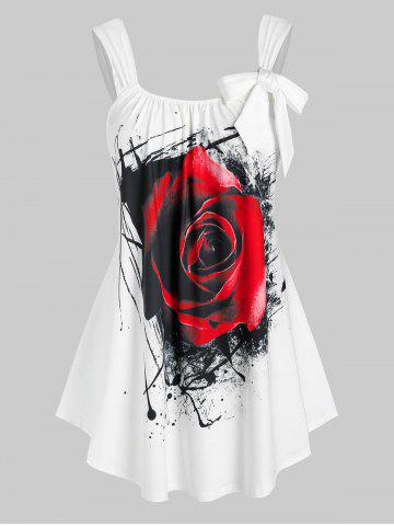 Plus Size Bowknot Rose Print Tank Top - WHITE - 5X