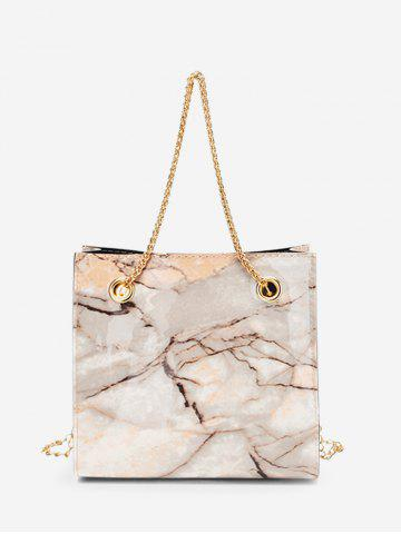 Square Marbling Pattern Chain Crossbody Bag - CAMEL BROWN