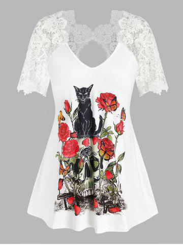 Plus Size Floral Skull Print Lace Insert Cutout Tee - WHITE - L