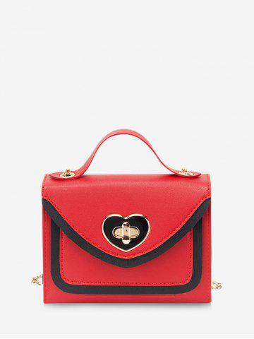 Heart Shape Colorblock Hasp Chain Handbag