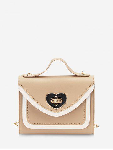 Heart Shape Colorblock Hasp Chain Handbag - CAMEL BROWN