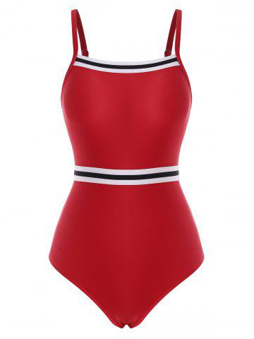 Striped Cutout Contrast One-piece Swimsuit - RED - XL