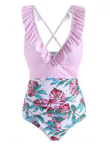 Striped Flower Leaf Ruffle One-piece Swimsuit - LIGHT PINK - XL