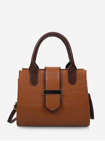 Stone Grain Color Block Convertible Strap Tote Bag