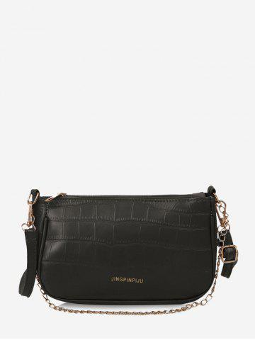 Stone Grain Buckle Strap Chain Shoulder Bag - BLACK