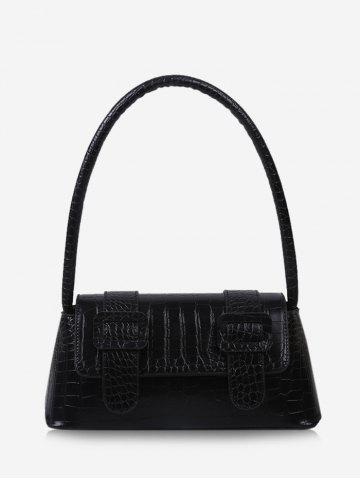 Buckle Embellished Textured Handbag - BLACK