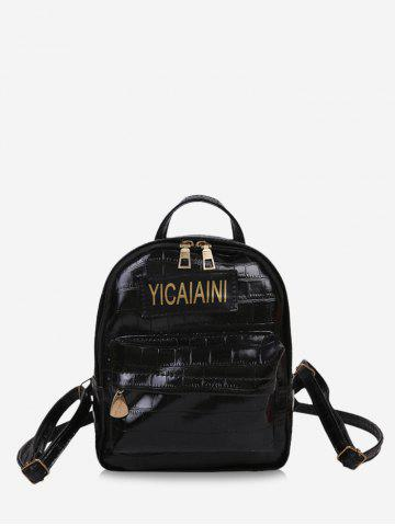 Letter Pattern Textured Chain Backpack - BLACK