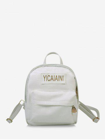 Letter Pattern Textured Chain Backpack - CRYSTAL CREAM