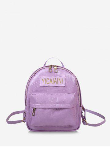 Letter Pattern Textured Chain Backpack - MAUVE