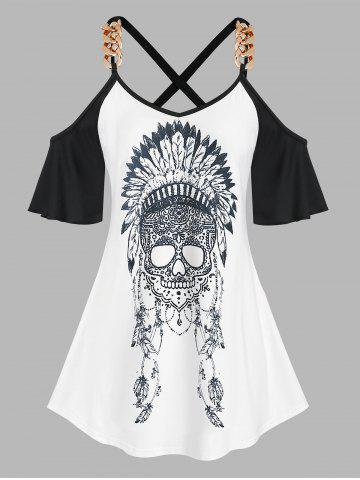 Plus Size Crisscross Cold Shoulder Skull Print Tee