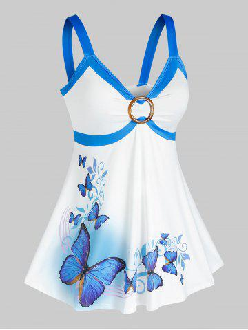 Plus Size Butterfly Print O Ring Tank Top - LIGHT BLUE - 5X