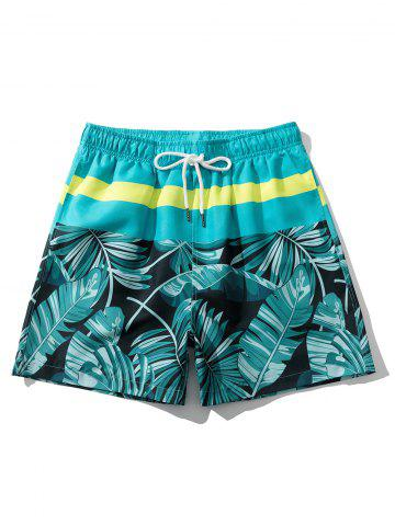 Tropical Leaf Print Beach Casual Shorts