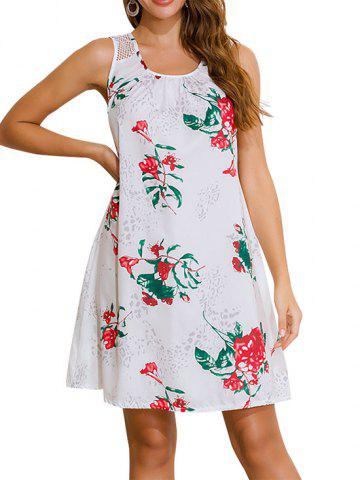 Lace Panel Floral Sleeveless Trapeze Dress - WHITE - L