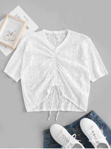Plus Size Openwork Cinched Ruched Knitwear - WHITE - 3XL