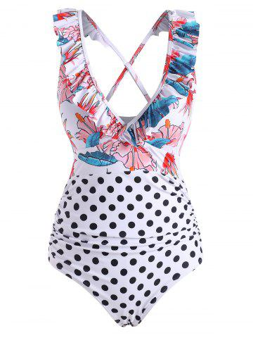 Polka Dot Flower Ruffle Cross One-piece Swimsuit - MULTI - XL